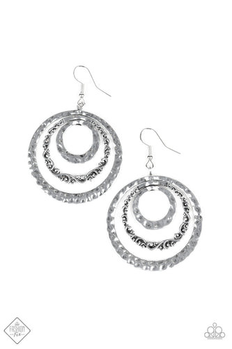 Paparazzi Out Of Control Shimmer Silver Fishhook Earrings  - Fashion Fix Glimpses of Malibu December 2019