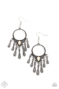 Paparazzi Ranger Rhythm White Stone Fishhook Earrings - Fashion Fix Simply Santa Fe January 2021