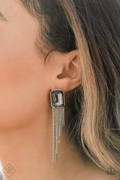 Paparazzi Save For A REIGNy Day Silver Post Earrings - Fashion Fix Magnificent Musings January 2021