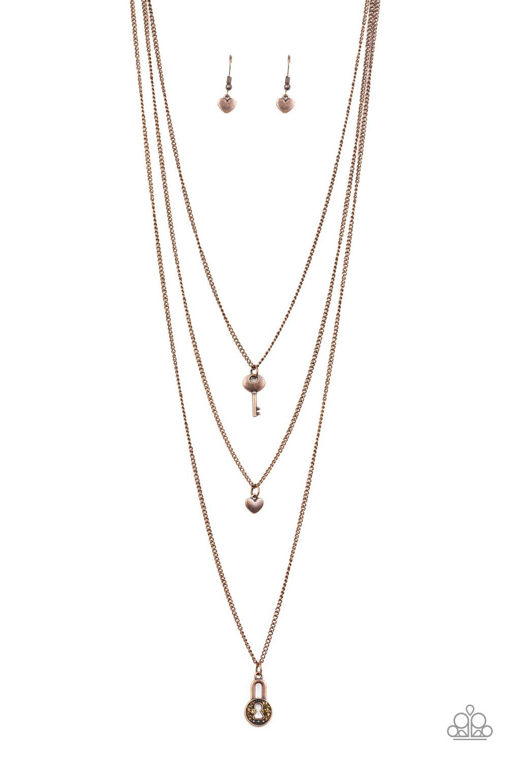 Paparazzi Secret Heart Copper Long Necklace