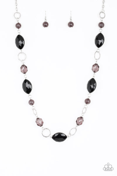 Paparazzi Shimmer Simmer Black Long Necklace