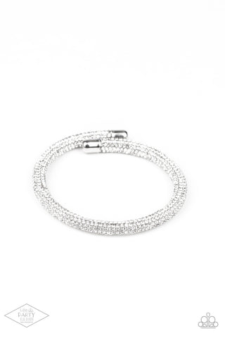 Paparazzi Stageworthy Sparkle White Coil Wrap Bracelet - Life Of The Party Exclusive