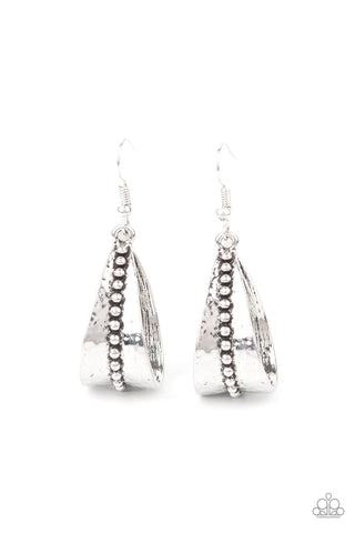 Paparazzi STIRRUP Some Trouble Silver Fishhook Earrings