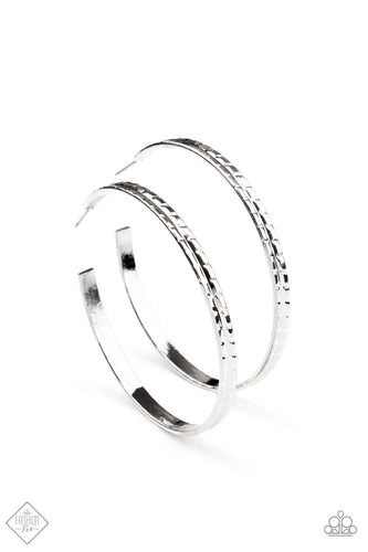 Paparazzi TREAD All About It Silver Hoop Post Earrings - Fashion Fix Sunset Sightings February 2021