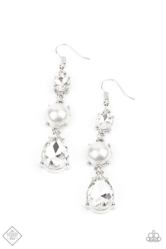 Paparazzi Unpredictable Shimmer White Fishhook Earrings - Fashion Fix Fiercely 5th Avenue January 2021
