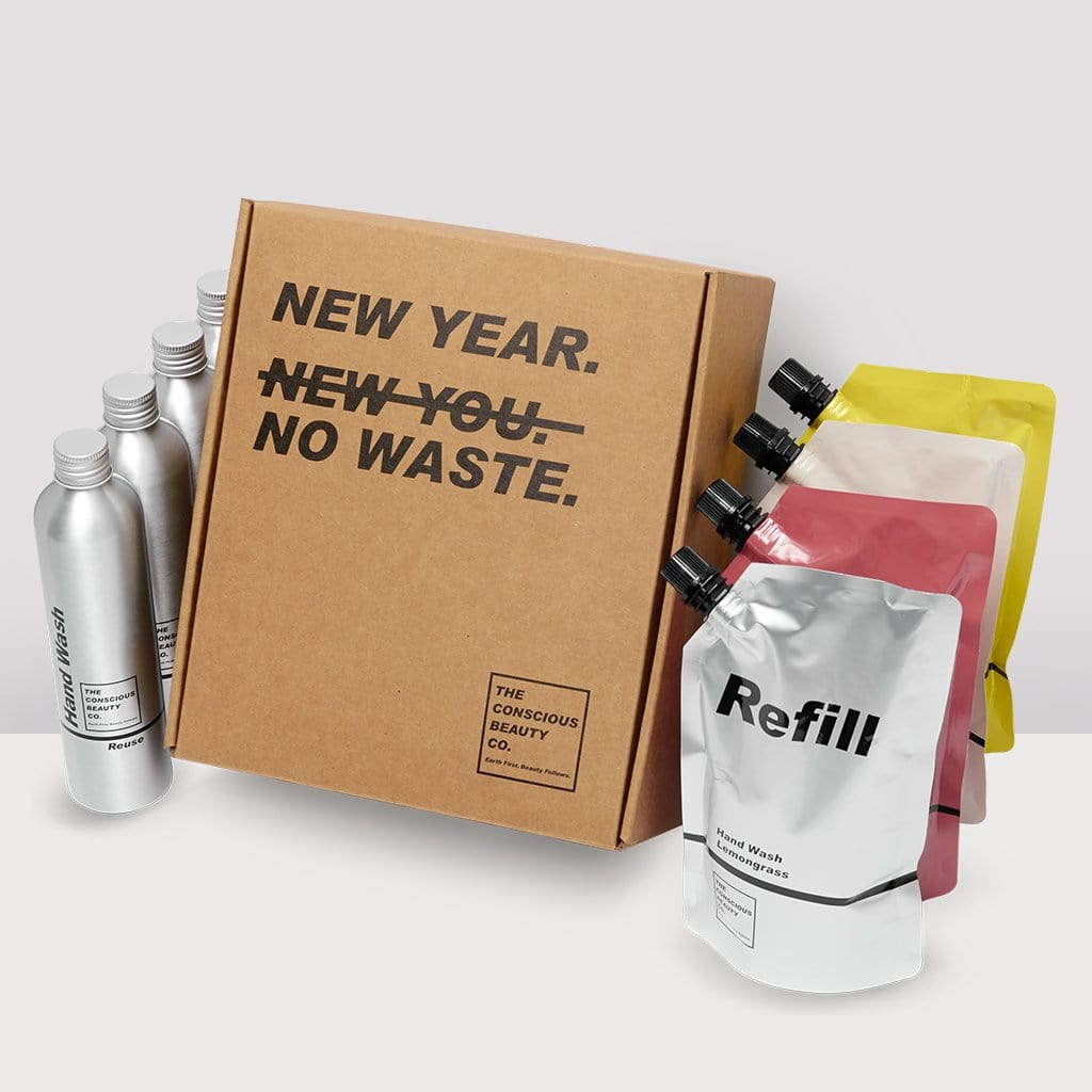 NEW YEAR NO WASTE BOX VEGAN CRUELTY FREE SULPHATE FREE PARABEN FREE PLASTIC FREE REFILLABLE REUSABLE SUSTAINABLE ZERO WASTE