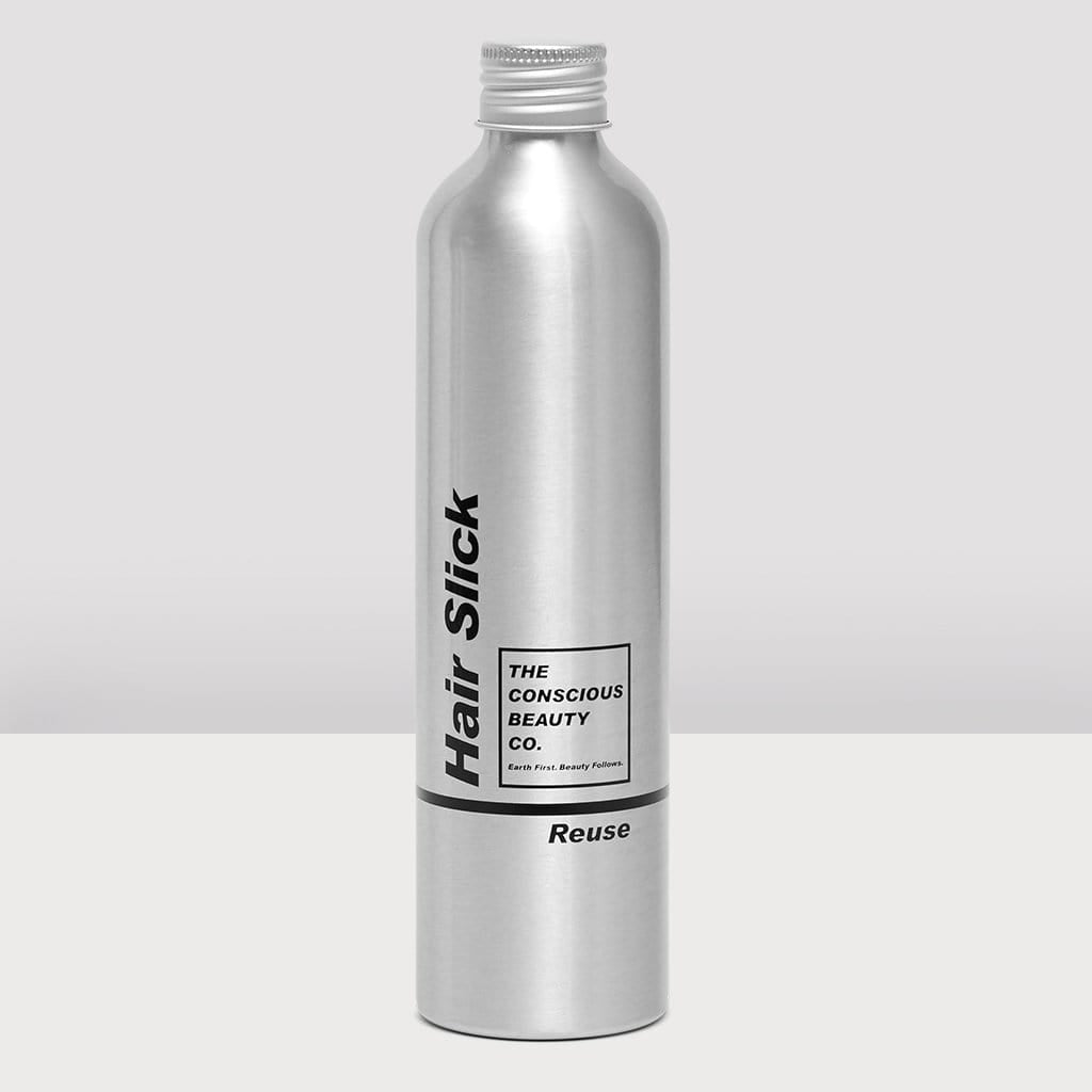 HAIR SLICK REFILL BOTTLE ALUMINIUM REUSABLE SUSTAINABLE ZERO WASTE PLASTIC FREE REFILLABLE CONDITIONER BOTTLE