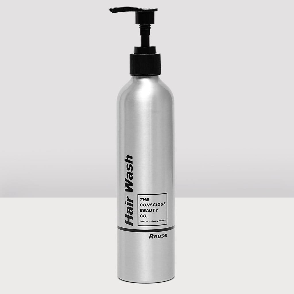 HAIR WASH REFILL BOTTLE ALUMINIUM REUSABLE SUSTAINABLE ZERO WASTE PLASTIC FREE REFILLABLE SHAMPOO BOTTLE