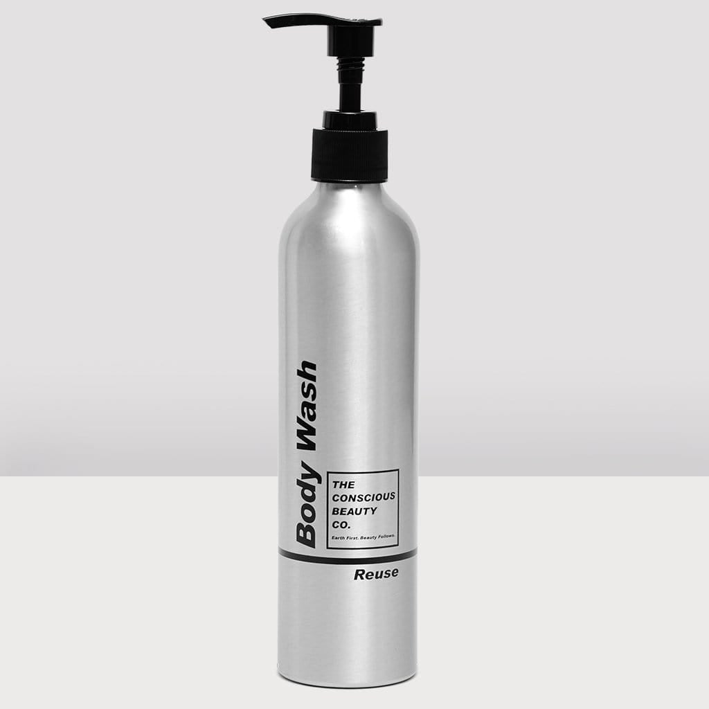 BODY WASH REFILL BOTTLE ALUMINIUM REUSABLE SUSTAINABLE ZERO WASTE PLASTIC FREE REFILLABLE BODY WASH BOTTLE