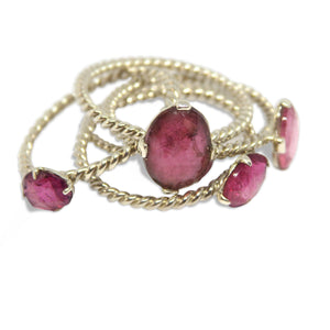 Pink Tourmaline Oval Stacker Rings