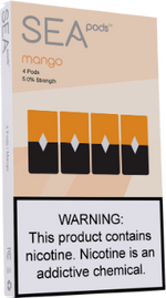Sea100 Pods - Mango - 4 Pack: 1mL 5% Premium Salt-Nic Juul Compatible Pods