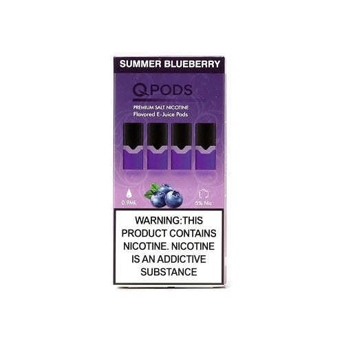 Q-Pods- Summer Blueberry - 4 Pack 0.9mL 5% Refillable Juul Compatible Pods