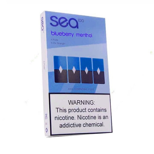 Sea100 Pods - Blueberry - 4 Pack: 1mL 5% Premium Salt-Nic Juul Compatible Pods