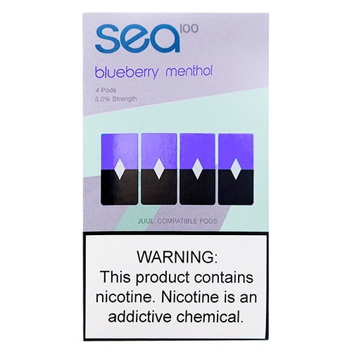 Sea100 Pods - Blueberry Menthol - 4 Pack: 1mL 5% Premium Salt-Nic Juul Compatible Pods