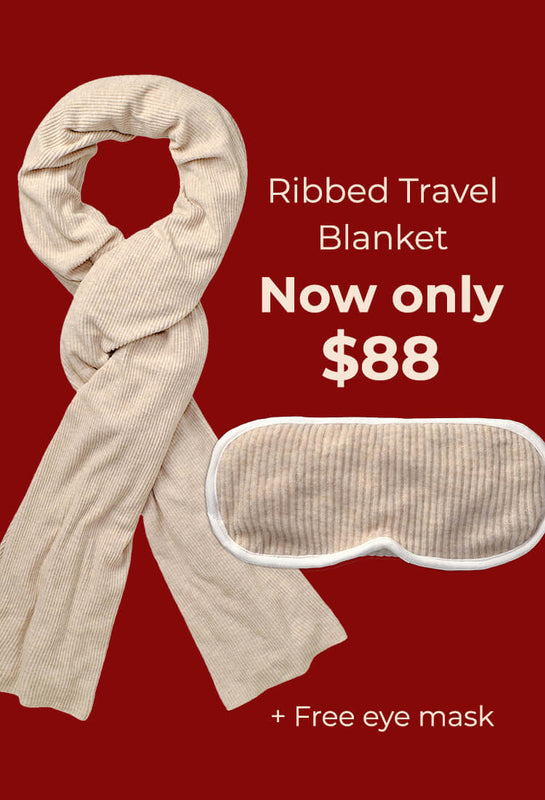 ribbed travel blanket now only $88 plus free eyemask