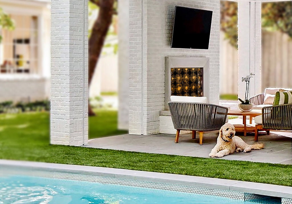 Halo fireplace screen with poodle by the pool