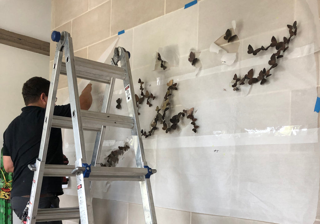 Butterfly wall decor installation