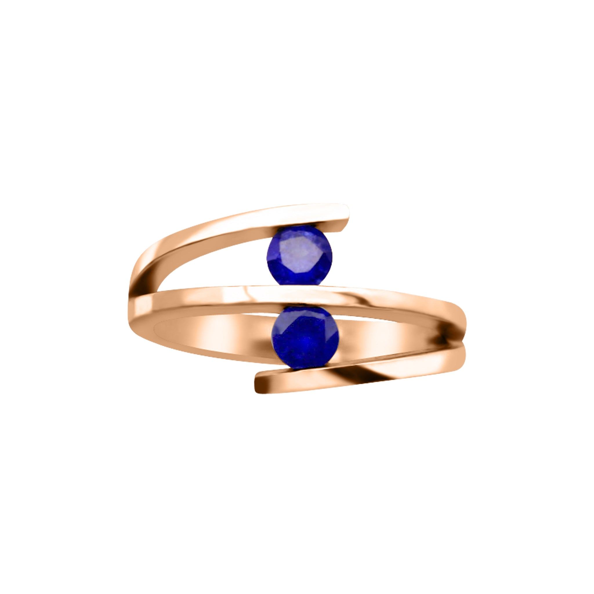 2 Gemstone Spiral Ring