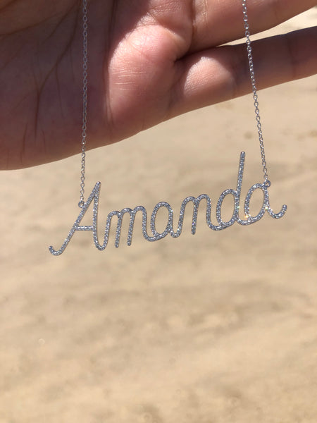 Personalized Diamond Script Name Necklace