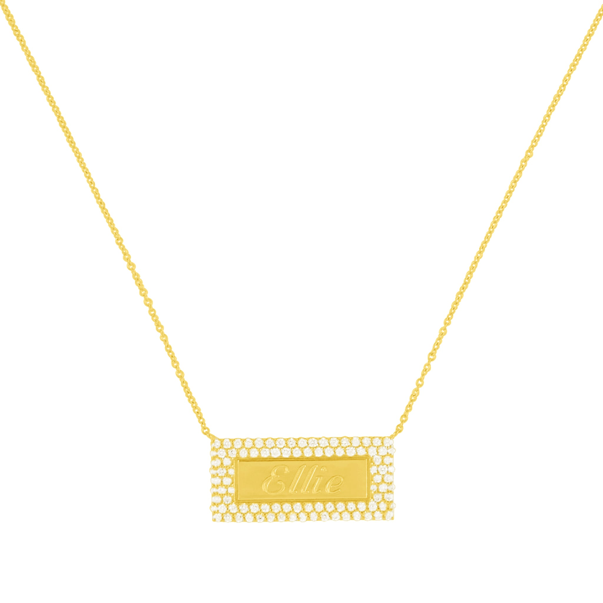 Multi- Row Diamond Name Plate Necklace