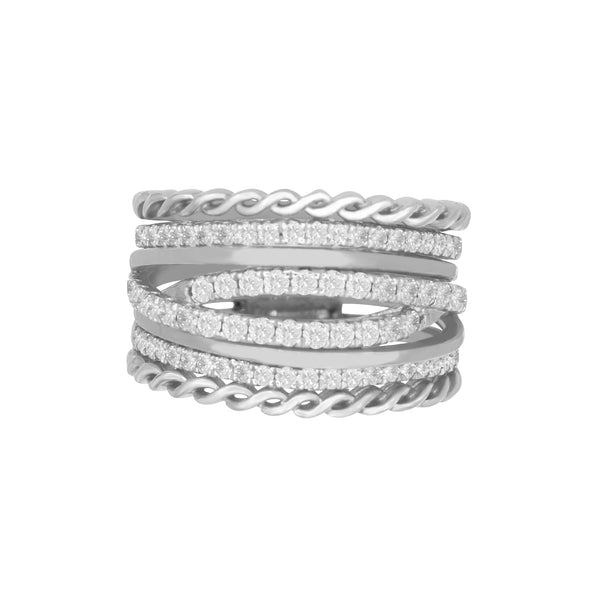 Detailed Multi-Row Diamond Ring