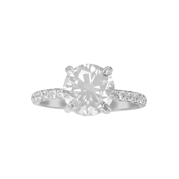 Classic Pave Engagement Ring with Diamond Basket & Prongs