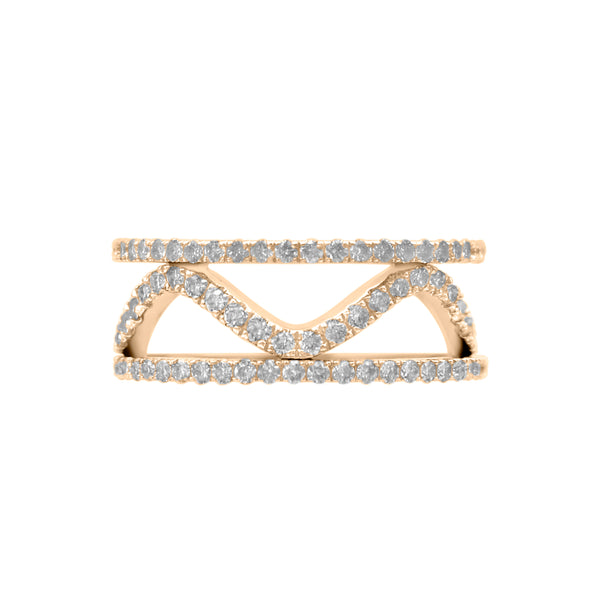 Diamond Wavy Ring