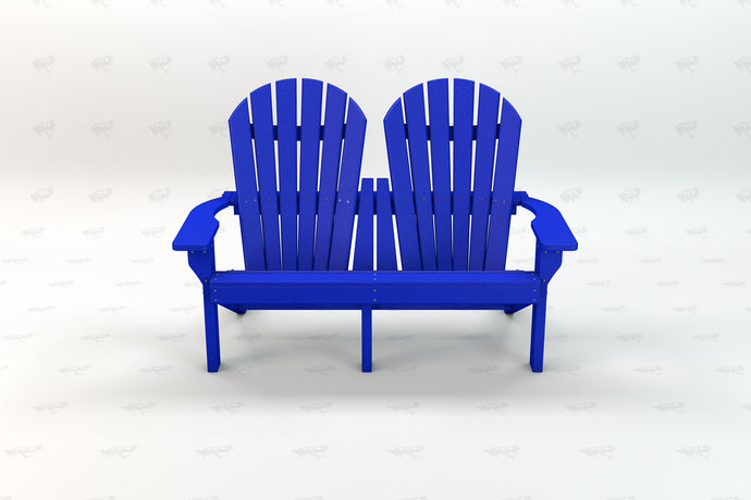 Riviera 2 Seat Adirondack Chair - Blue - Recycled Plastic - Poly Lumber - Resinwood
