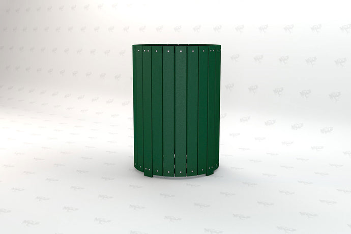 Round Receptacle - Green - Recycled Plastic - Poly Lumber - Resinwood