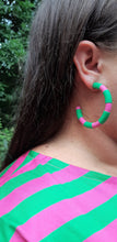 Load image into Gallery viewer, Matchy Matchy Hoops in Pink & Green