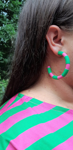 Polymer Clay Matchy Matchy Hoops in Pink & Green