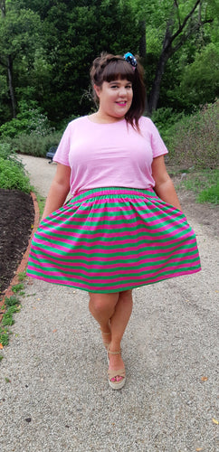 Pink & Green Stripe Skirt