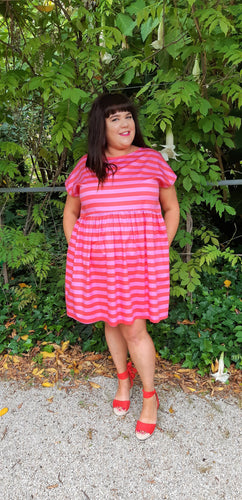 Pink & Red Stripe Frock
