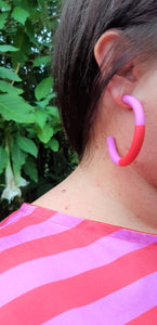 Polymer Clay Matchy Matchy Hoops in Pink & Red