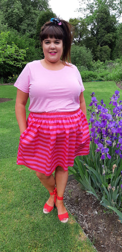 Pink & Red Stripe Skirt