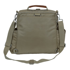Out & About Tan Convertible Backpack Diaper Bag Crossbody Back