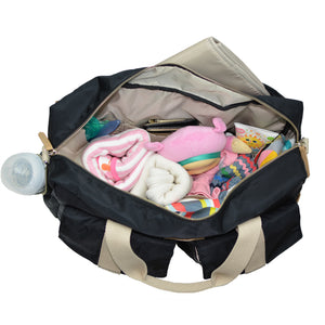 All Aboard Black Unisex Diaper Bag Open