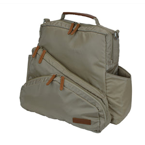 Out & About Tan Convertible Backpack Diaper Bag Side