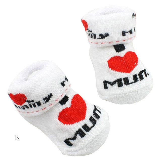 "0-6M baby socks "" I Love Dad or Mum"" Baby Infant Boy  & Girl"