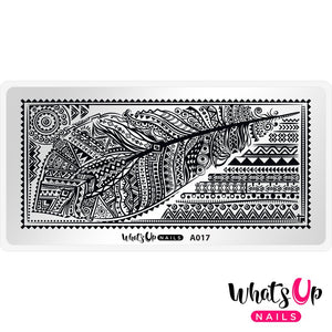 Whats Up Nails- A017 Tribal Feather Stamping Plate