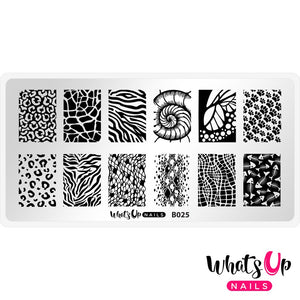 Whats Up Nails- B025 Animalistic Nature Stamping Plate