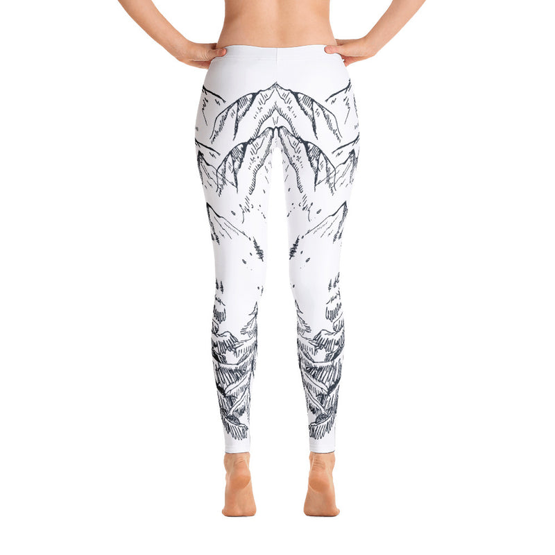 Mountain Trees Print Yoga Leggings