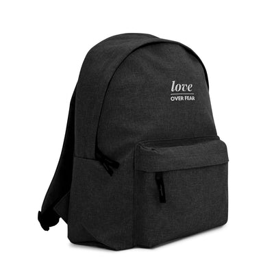Embroidered Love Over Fear Eco-Friendly Backpack