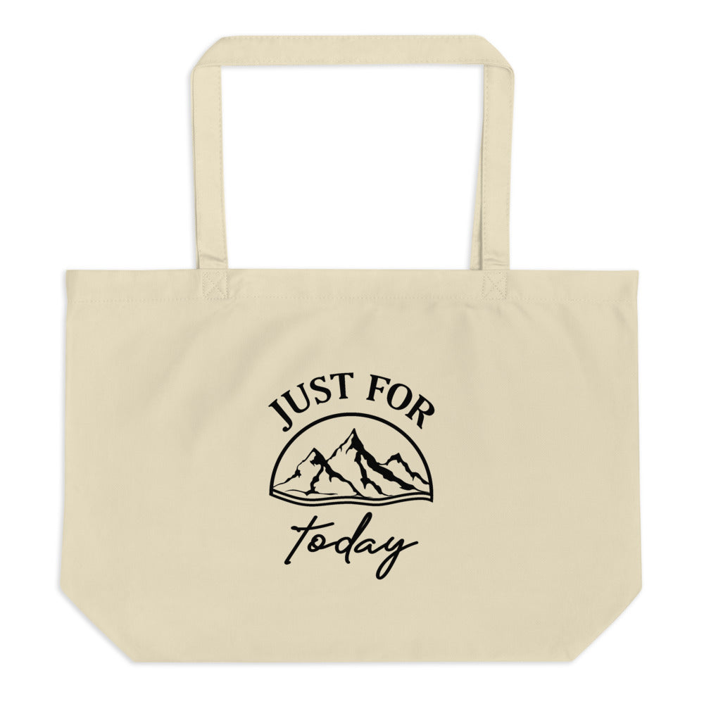 Just for Today Serenity Prayer Large Organic Eco-friendly Tote Bag