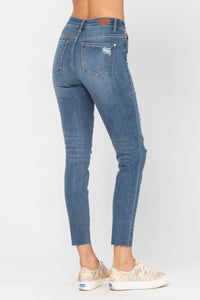 Distressed Button Fly Skinny