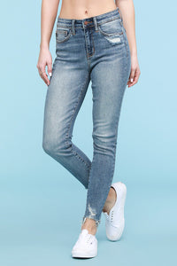 Skinny Fit Distressed Hem Medium Wash