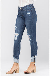 Distressed Cuff Skinny Fit