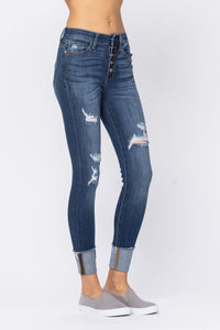 Button Fly Distressed Cuffed Skinny
