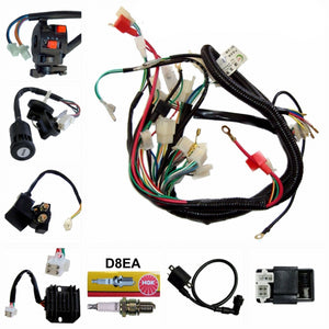 Full Wiring Harness Loom Solenoid Coil Regulator CDI 150-200-250cc ATV Quad Bike