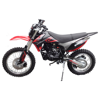 RED - TDR 200cc Motocross Motorcycle Dirt Pit Bike, 1-Cylinder, 4-Stroke Air-Cooled, Electric / Kick Start